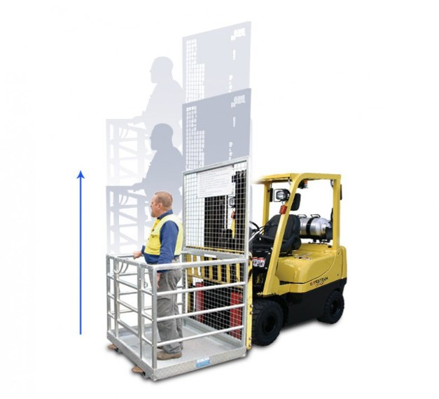 Forklift safety cage attachment