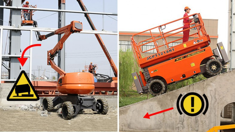 Outdoor boom and scissor lifts