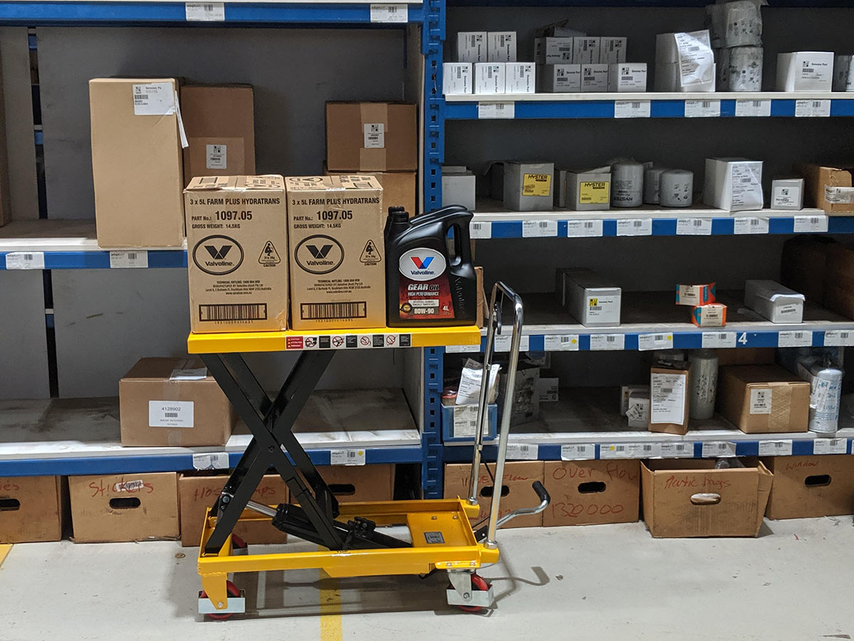 Scissor lift table putting stock away