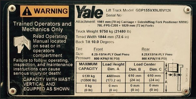 Yale forklift rating plate
