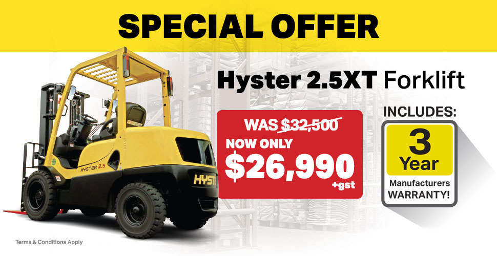 Hyster 2.5XT for $26,990+gst with 3 Year Warranty